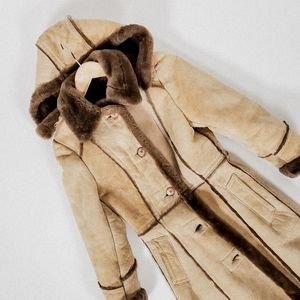 XS shearling leather suede coat parka vintage
